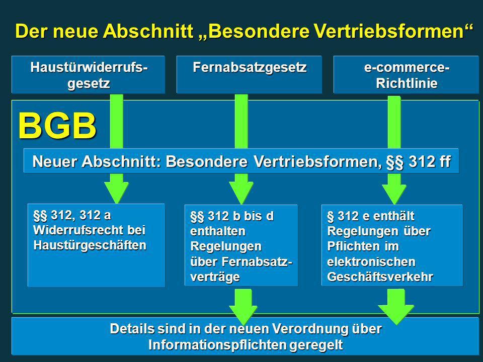 """BGB Der neue Abschnitt """"Besondere Vertriebsformen"""