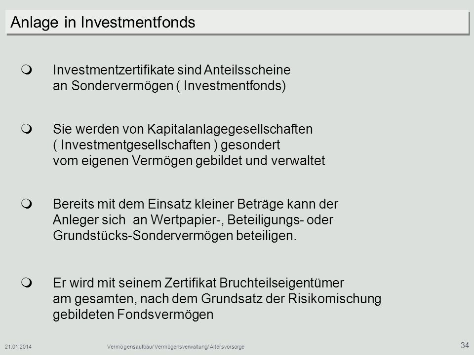 Anlage in Investmentfonds