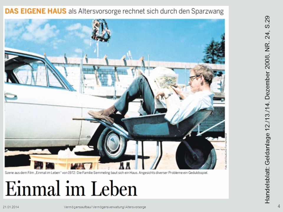 Handelsblatt: Geldanlage 12./13./14. Dezember 2008, NR. 24, S.29