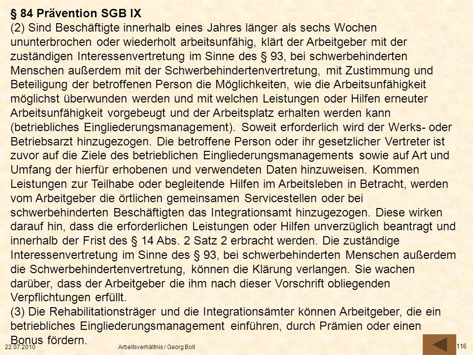 § 84 Prävention SGB IX