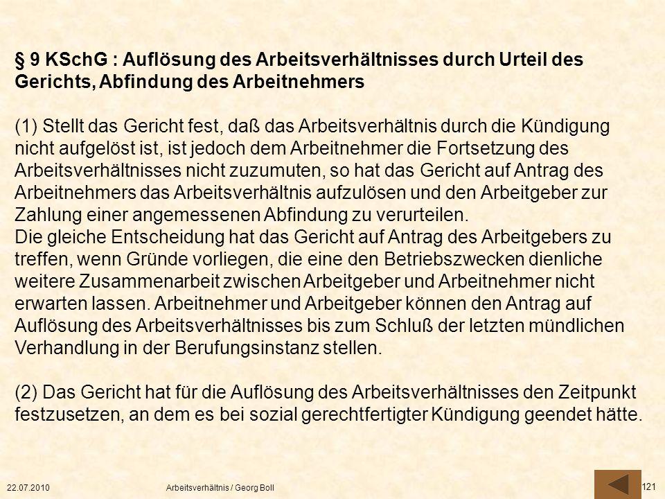 § 9 KSchG : Auflösung des Arbeitsverhältnisses durch Urteil des Gerichts, Abfindung des Arbeitnehmers