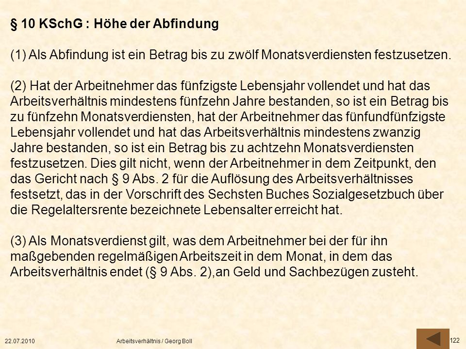 § 10 KSchG : Höhe der Abfindung