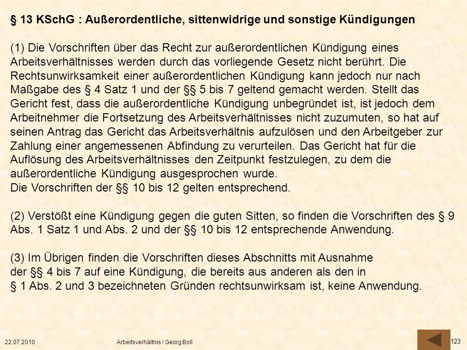 § 13 KSchG : Außerordentliche, sittenwidrige und sonstige Kündigungen