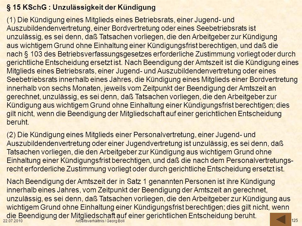 § 15 KSchG : Unzulässigkeit der Kündigung