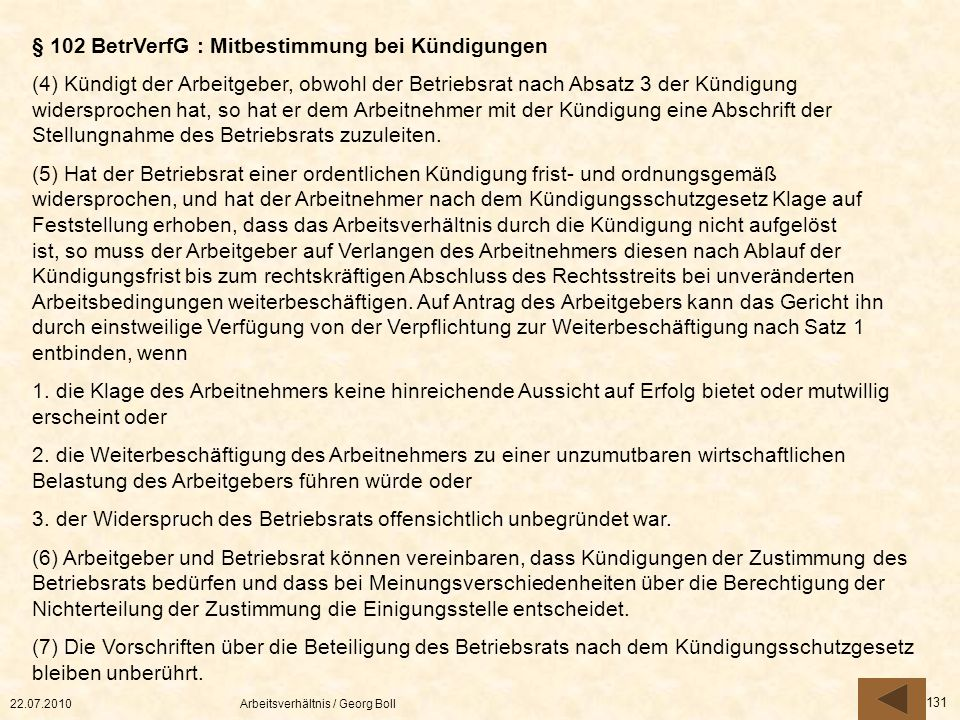 § 102 BetrVerfG : Mitbestimmung bei Kündigungen