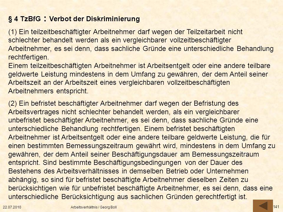 § 4 TzBfG : Verbot der Diskriminierung