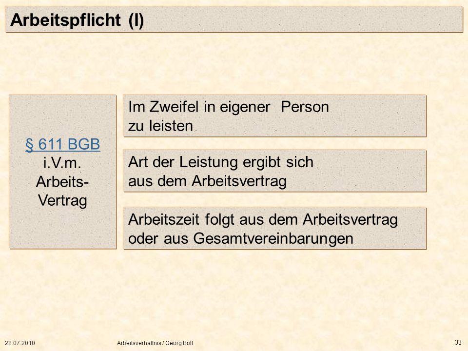 Arbeitspflicht (I) Im Zweifel in eigener Person zu leisten § 611 BGB