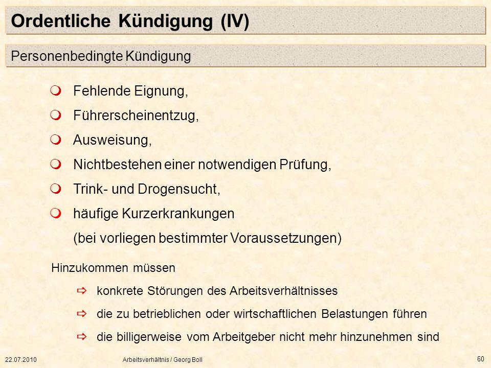 Ordentliche Kündigung (IV)