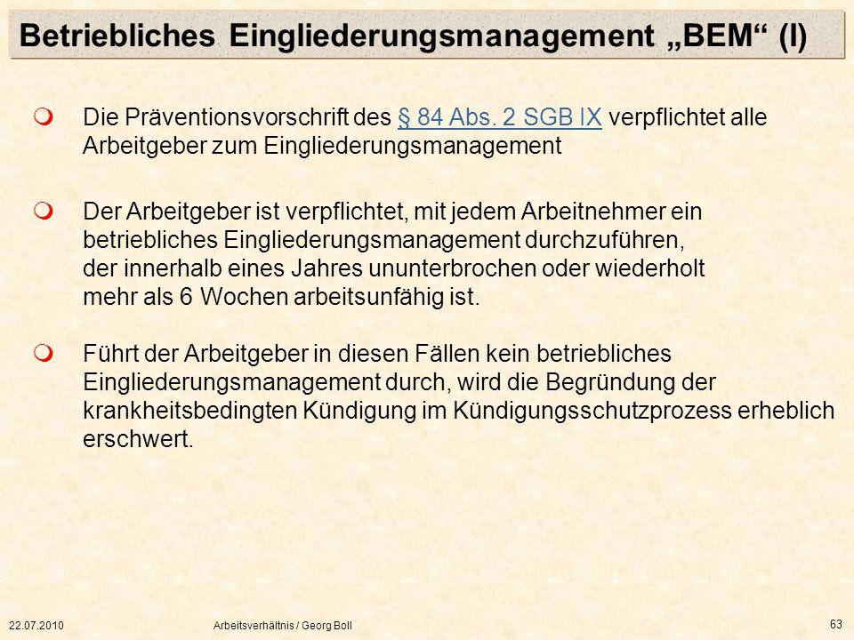 """Betriebliches Eingliederungsmanagement """"BEM (I)"""