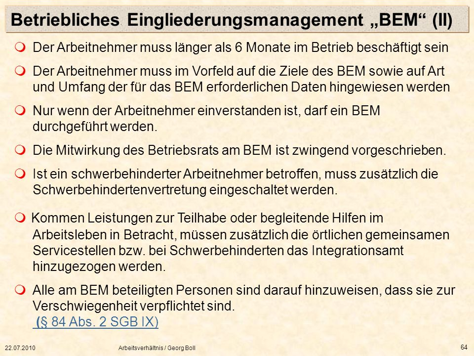 """Betriebliches Eingliederungsmanagement """"BEM (II)"""
