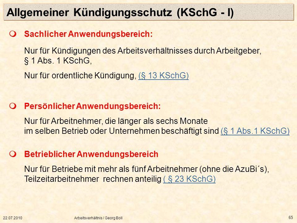 Allgemeiner Kündigungsschutz (KSchG - I)