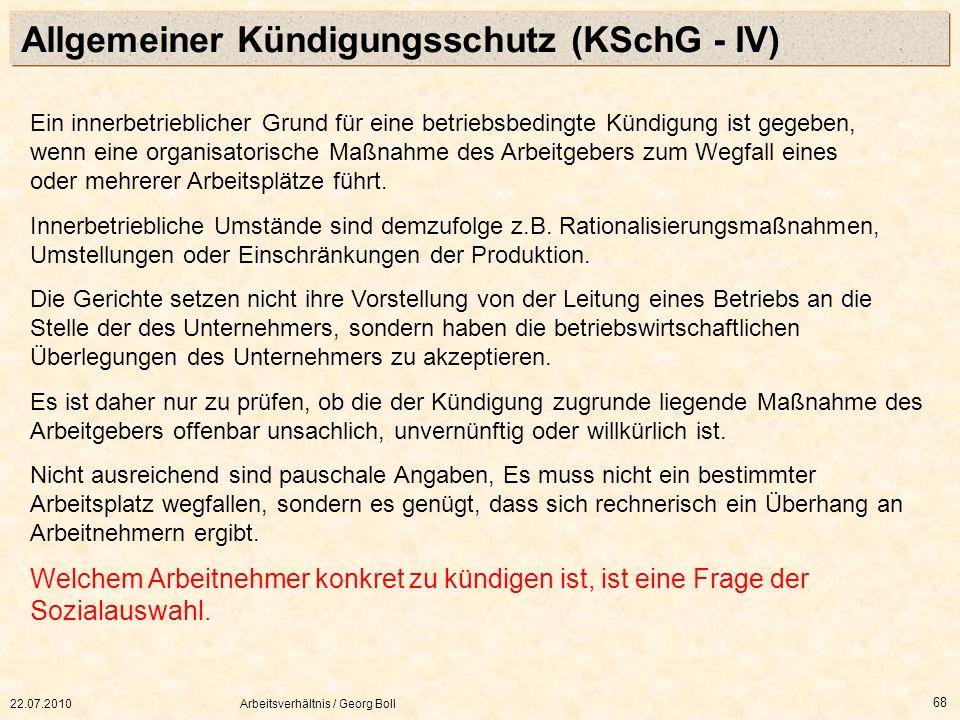 Allgemeiner Kündigungsschutz (KSchG - IV)