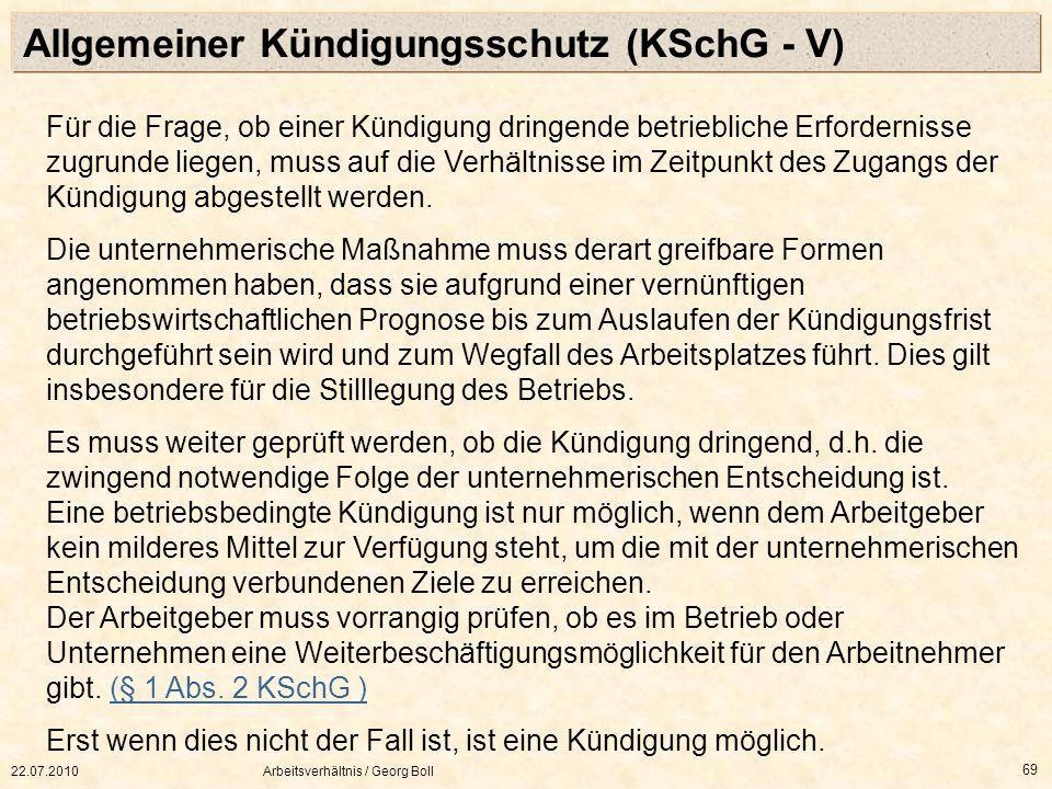 Allgemeiner Kündigungsschutz (KSchG - V)