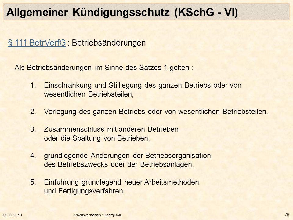Allgemeiner Kündigungsschutz (KSchG - VI)