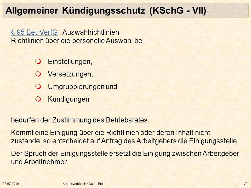 Allgemeiner Kündigungsschutz (KSchG - VII)