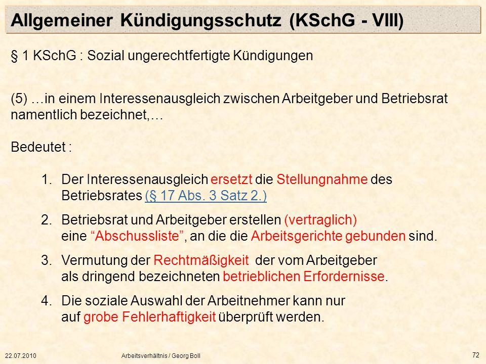 Allgemeiner Kündigungsschutz (KSchG - VIII)