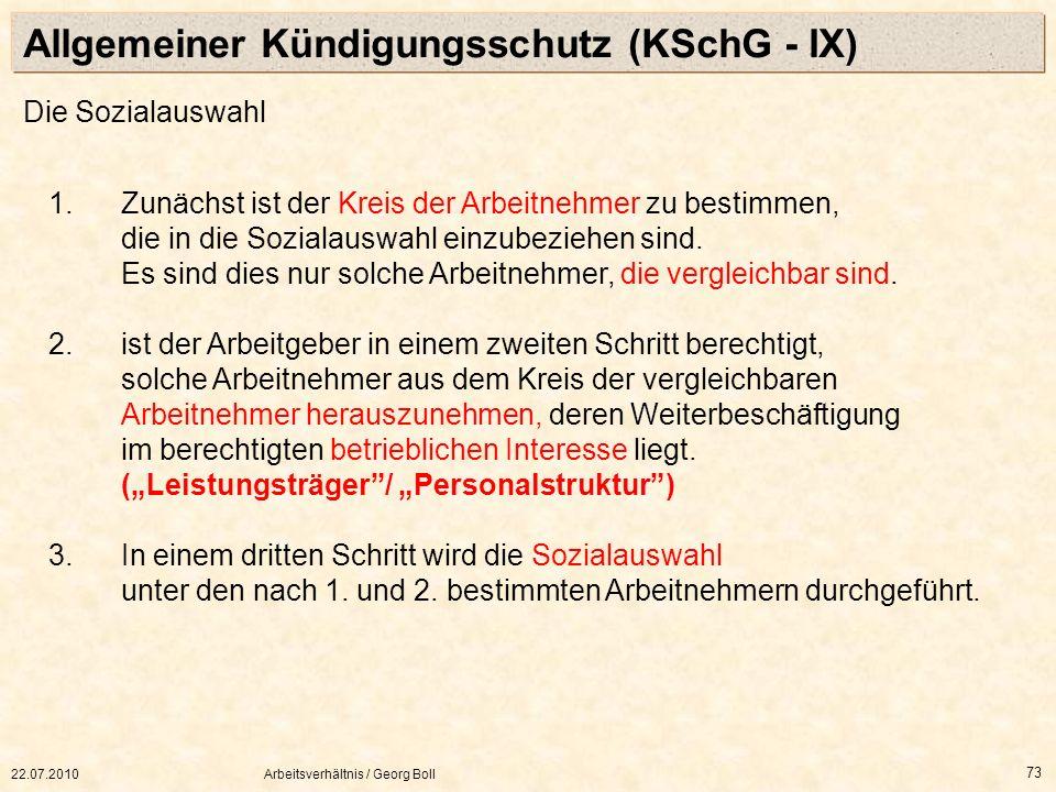 Allgemeiner Kündigungsschutz (KSchG - IX)