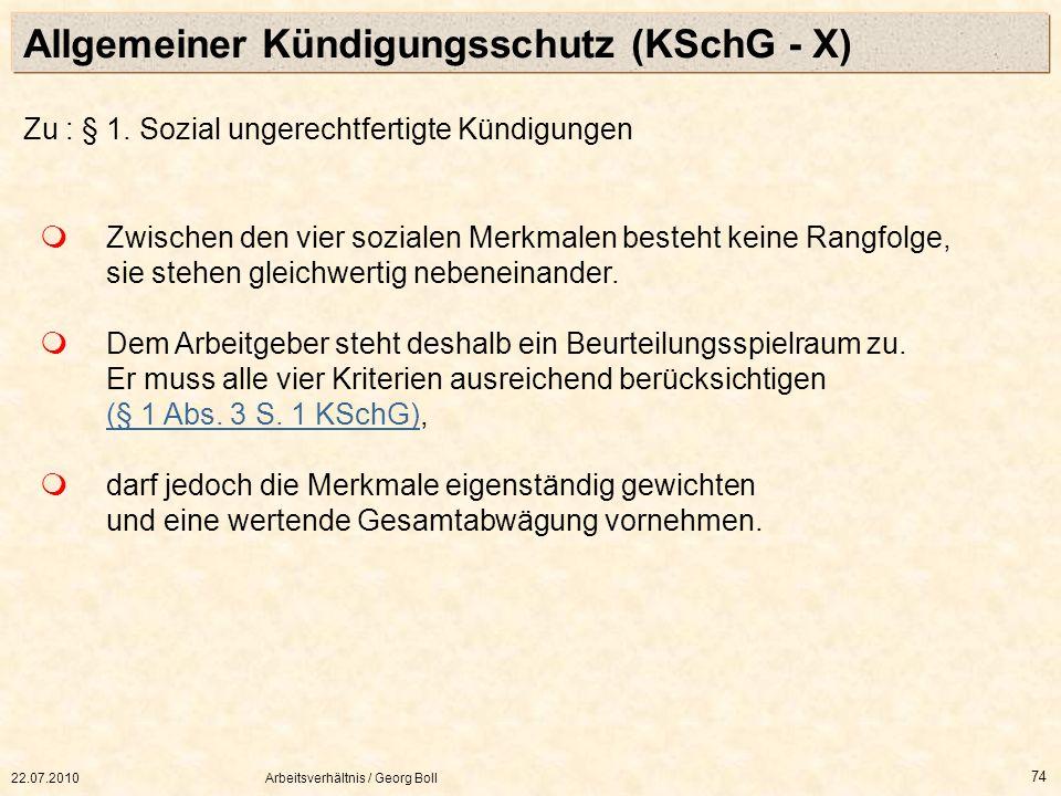 Allgemeiner Kündigungsschutz (KSchG - X)