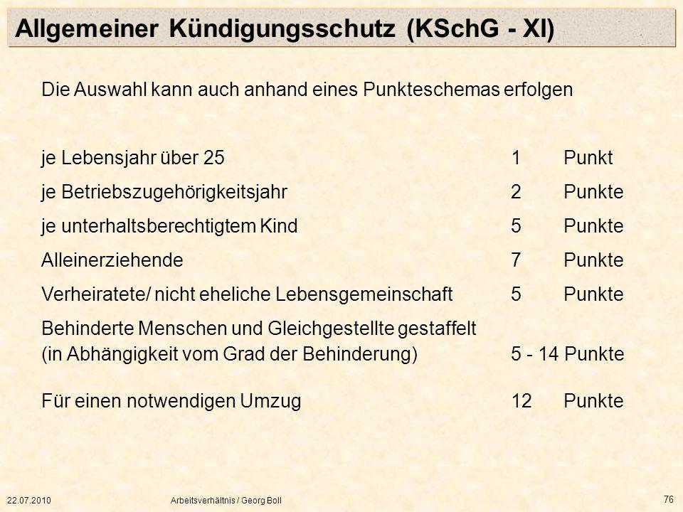 Allgemeiner Kündigungsschutz (KSchG - XI)