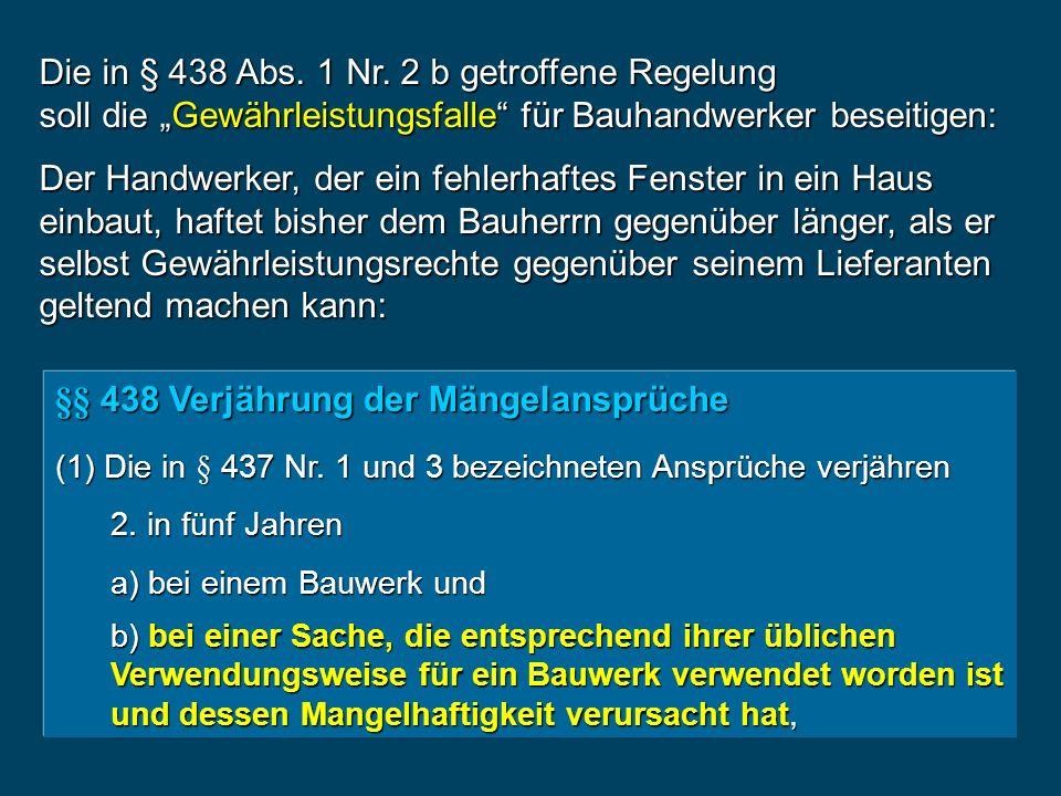 §§ 438 Verjährung der Mängelansprüche