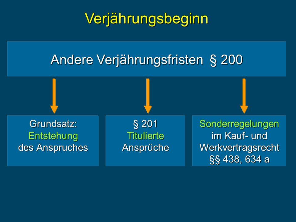 Andere Verjährungsfristen § 200