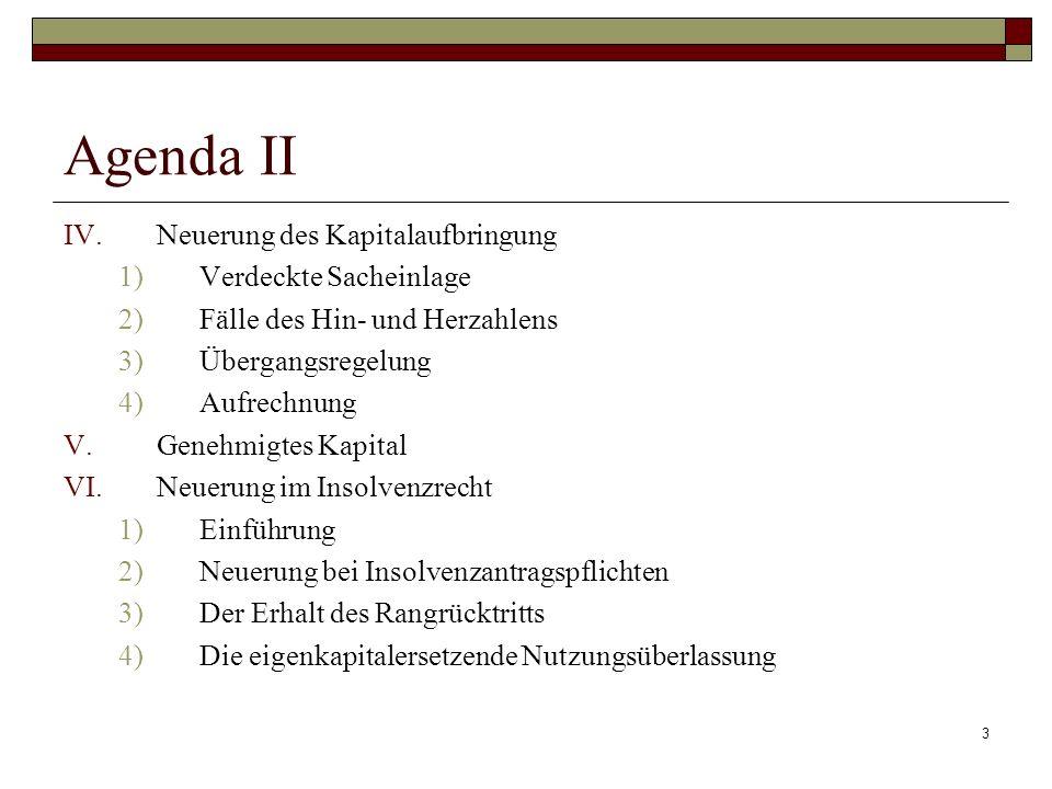 Agenda II Neuerung des Kapitalaufbringung Verdeckte Sacheinlage