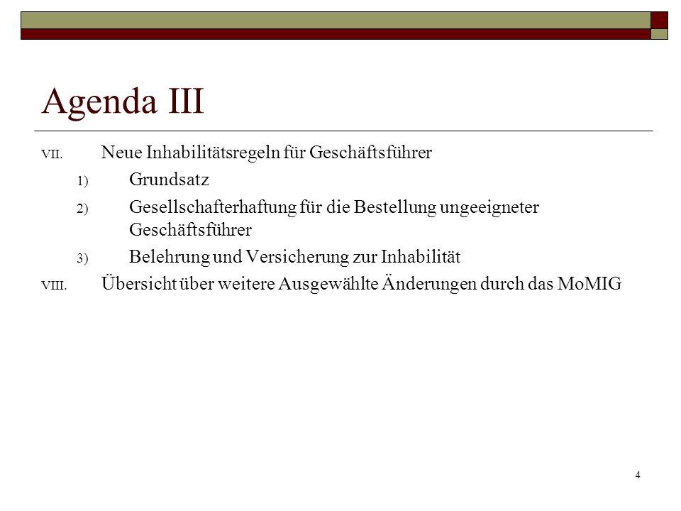 Agenda III Neue Inhabilitätsregeln für Geschäftsführer Grundsatz