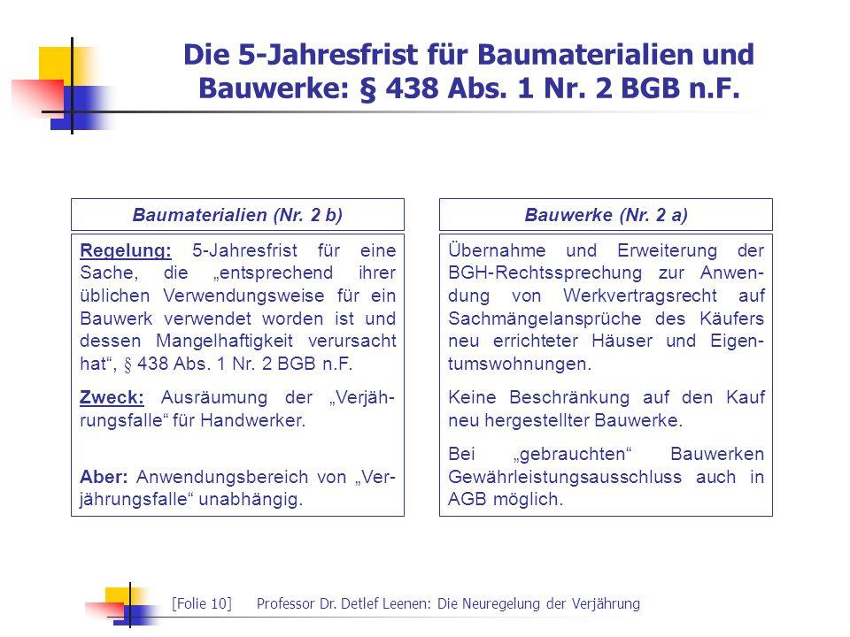 Die 5-Jahresfrist für Baumaterialien und Bauwerke: § 438 Abs. 1 Nr