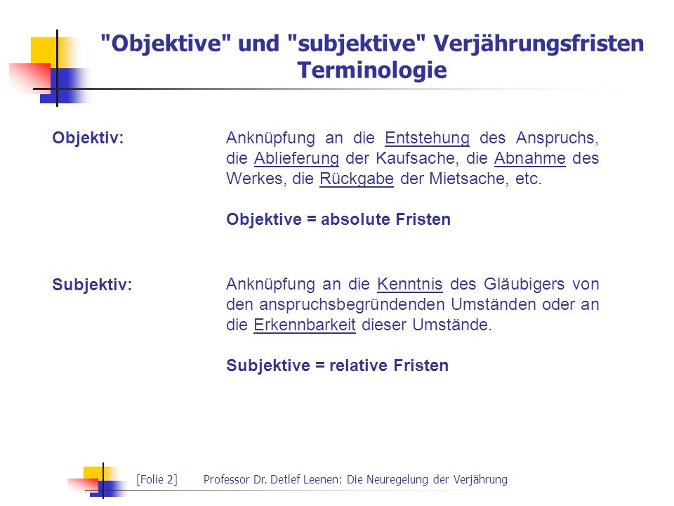 Objektive und subjektive Verjährungsfristen Terminologie