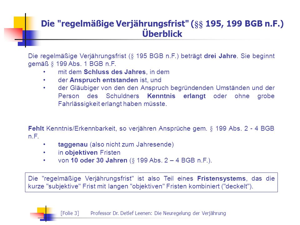 Die regelmäßige Verjährungsfrist (§§ 195, 199 BGB n.F.) Überblick