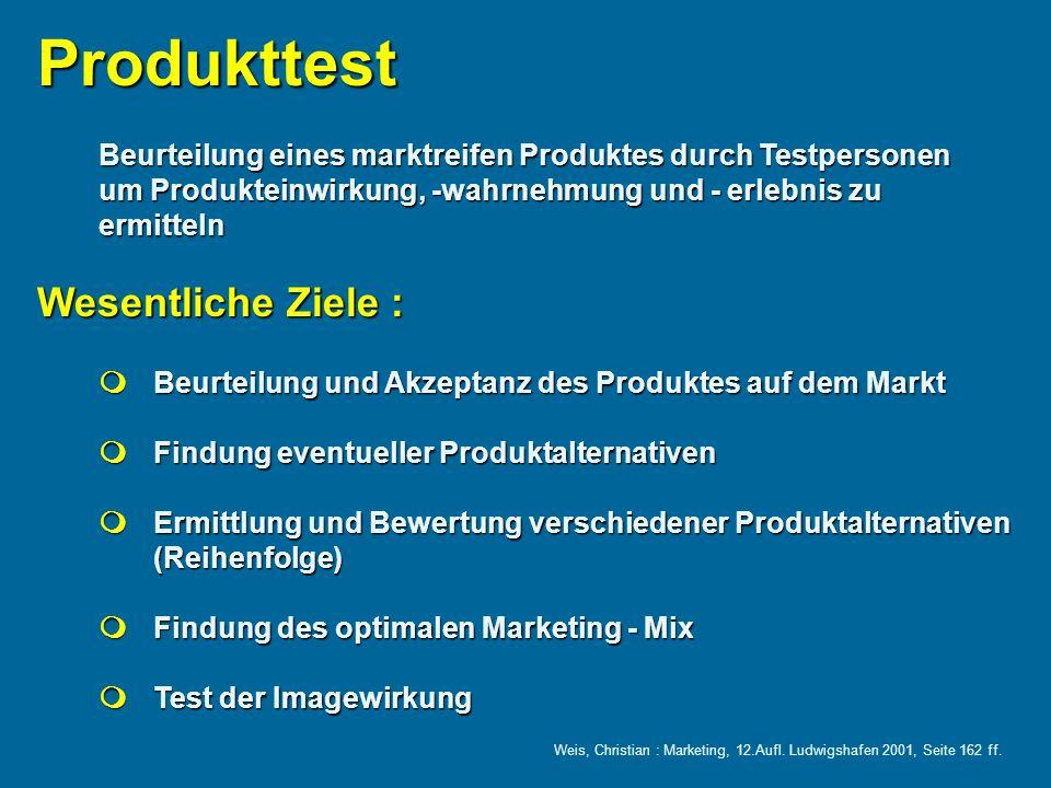 Produkttest Wesentliche Ziele :
