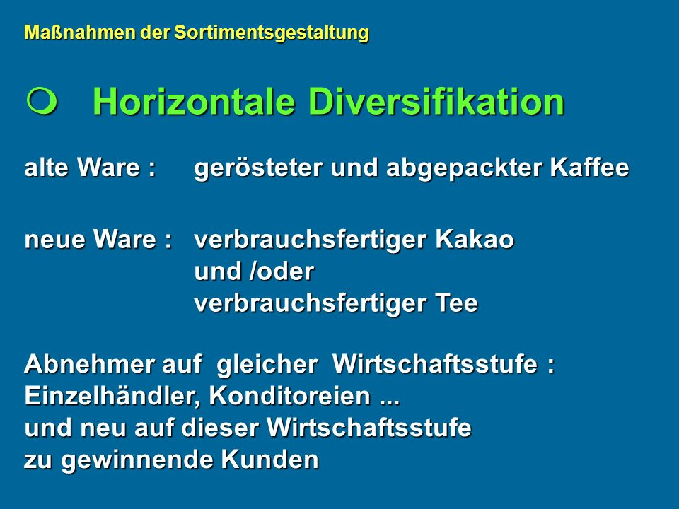  Horizontale Diversifikation