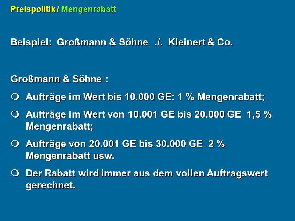Beispiel: Großmann & Söhne ./. Kleinert & Co.