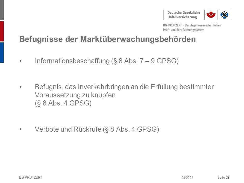 Befugnisse der Marktüberwachungsbehörden
