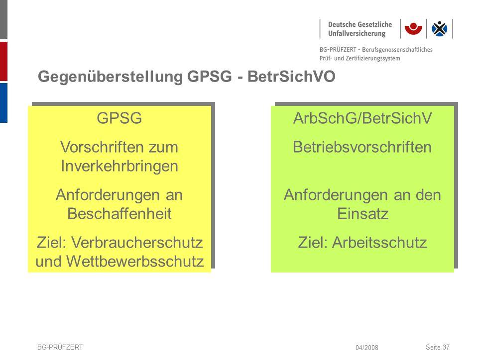 Gegenüberstellung GPSG - BetrSichVO