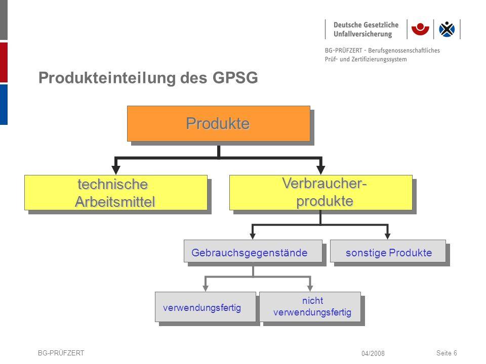 Produkteinteilung des GPSG