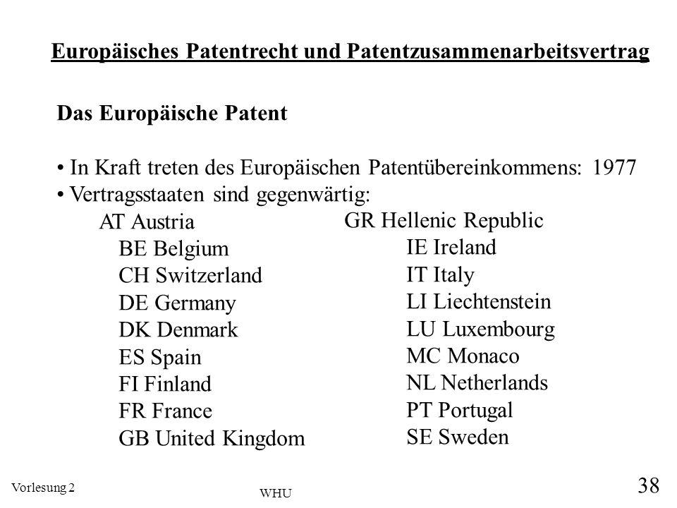 Europäisches Patentrecht und Patentzusammenarbeitsvertrag