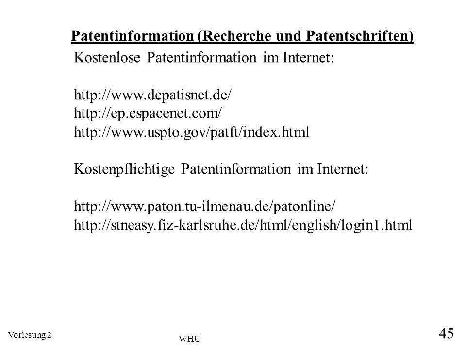 Patentinformation (Recherche und Patentschriften)
