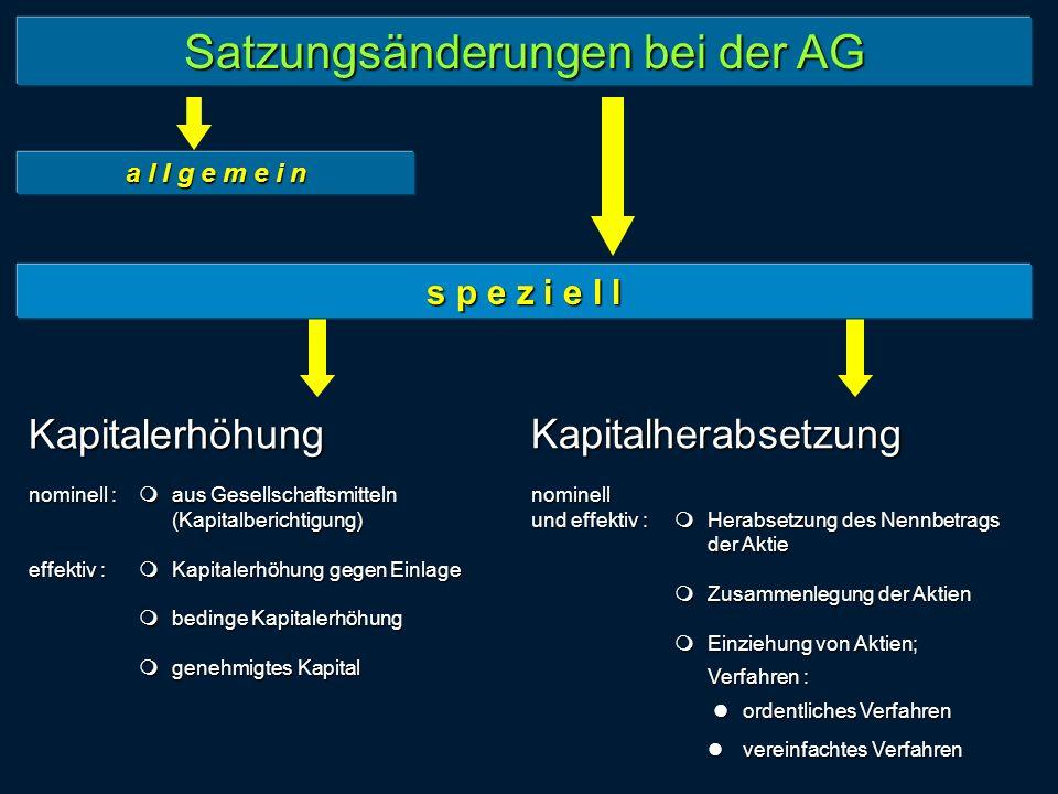 Satzungsänderungen bei der AG