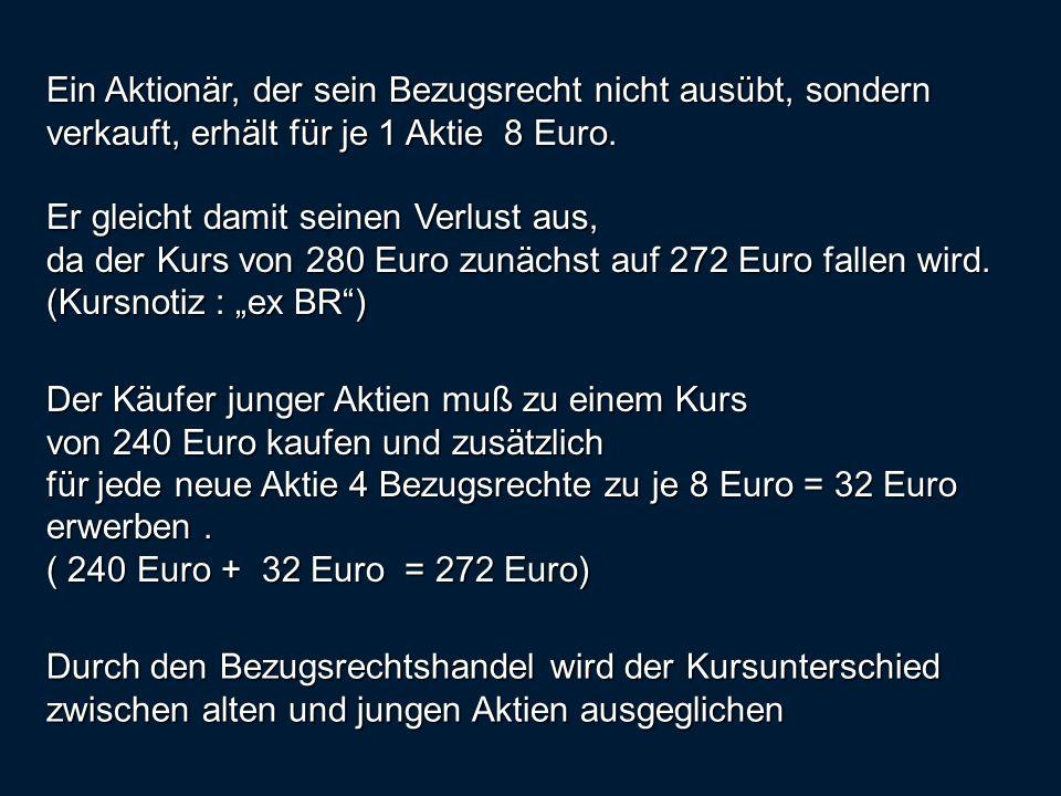 Ein Aktionär, der sein Bezugsrecht nicht ausübt, sondern verkauft, erhält für je 1 Aktie 8 Euro.