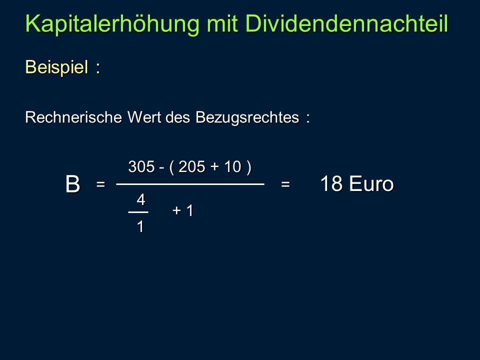 Kapitalerhöhung mit Dividendennachteil