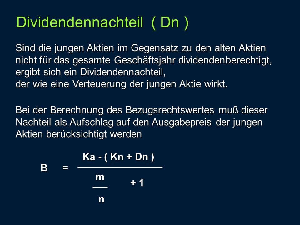 Dividendennachteil ( Dn )