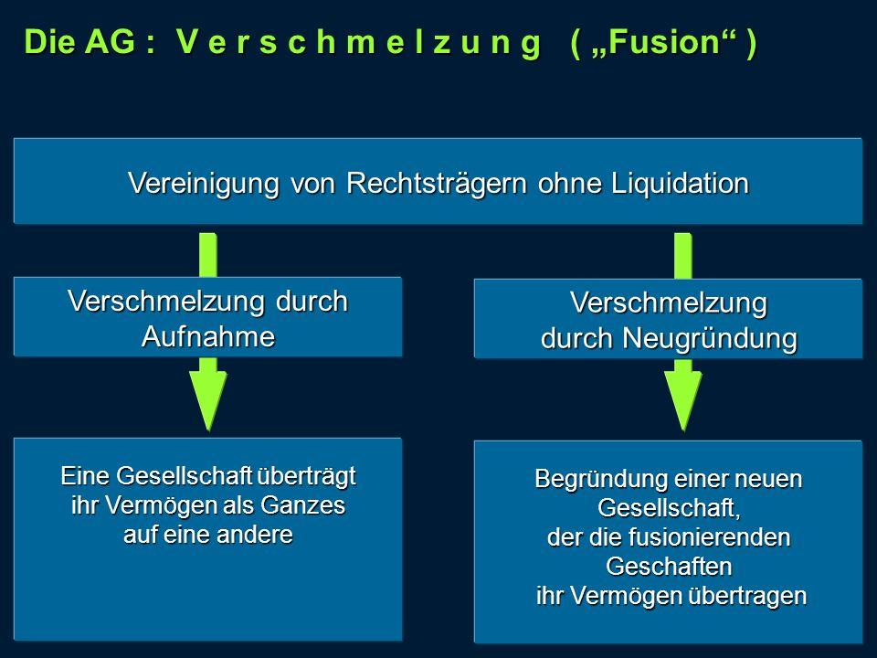 "Die AG : V e r s c h m e l z u n g ( ""Fusion )"
