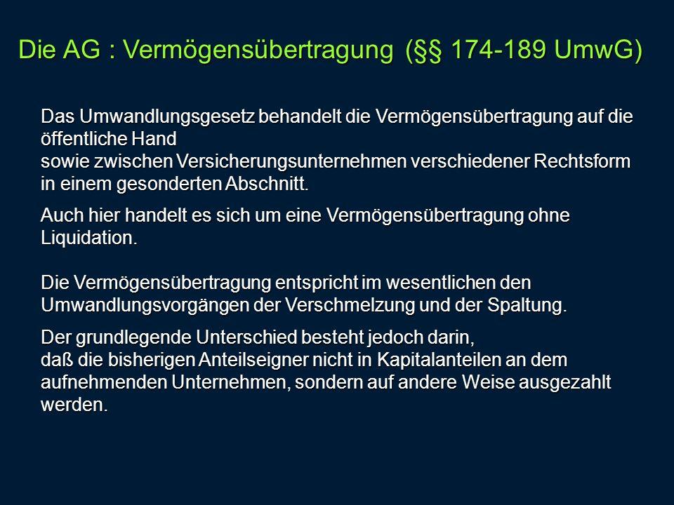 Die AG : Vermögensübertragung (§§ 174-189 UmwG)
