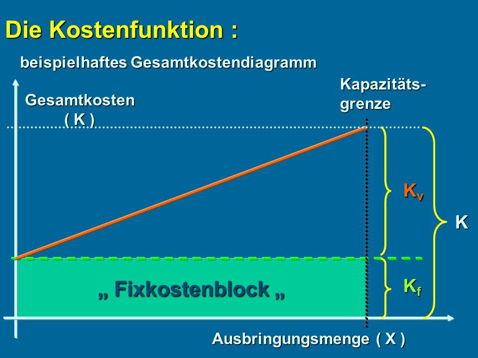 """Die Kostenfunktion : """" Fixkostenblock """" Kv K Kf"""