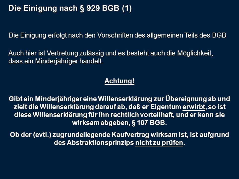 Die Einigung nach § 929 BGB (1)