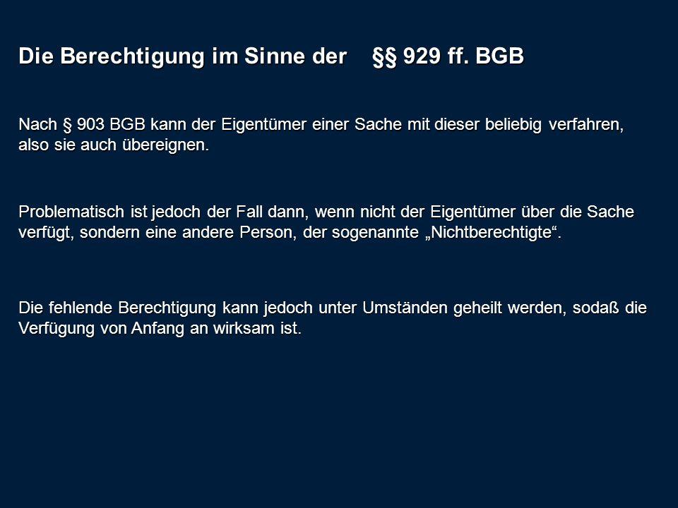 Die Berechtigung im Sinne der §§ 929 ff. BGB