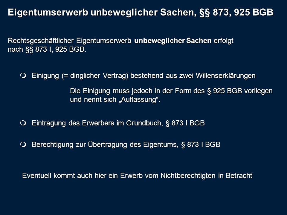 Eigentumserwerb unbeweglicher Sachen, §§ 873, 925 BGB