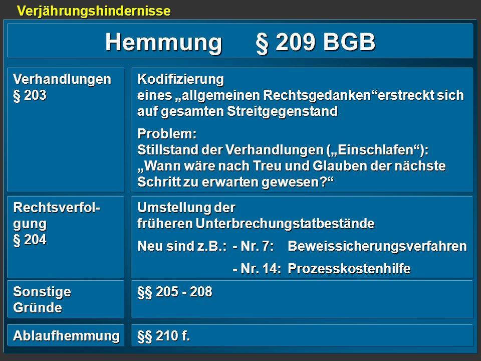 Hemmung § 209 BGB Verjährungshindernisse Verhandlungen § 203