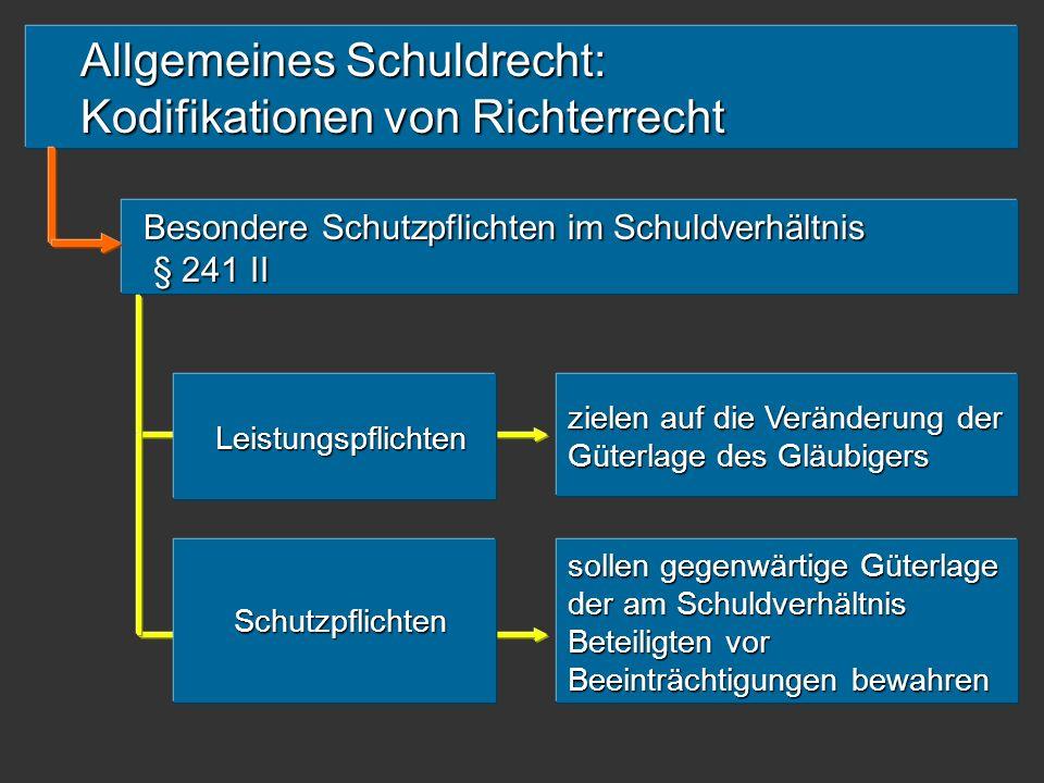Allgemeines Schuldrecht: Kodifikationen von Richterrecht